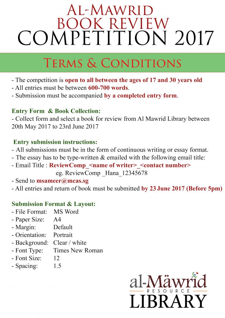 al mawrid book review competition muslim converts  terms conditions